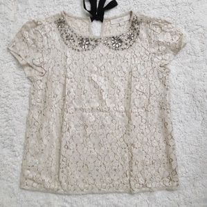 Loft embellished lace blouse